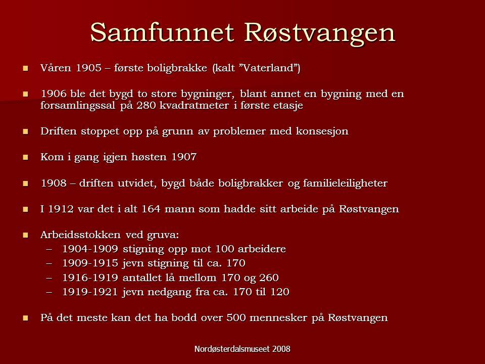 """Nordøsterdalsmuseet 2008 Samfunnet Røstvangen Våren 1905 – første boligbrakke (kalt """"Vaterland"""") Våren 1905 – første boligbrakke (kalt """"Vaterland"""") 19"""