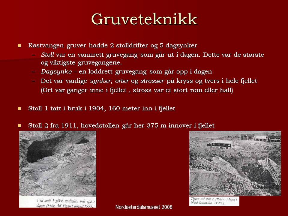 Nordøsterdalsmuseet 2008 Gruveteknikk Røstvangen gruver hadde 2 stolldrifter og 5 dagsynker Røstvangen gruver hadde 2 stolldrifter og 5 dagsynker – Stoll var en vannrett gruvegang som går ut i dagen.