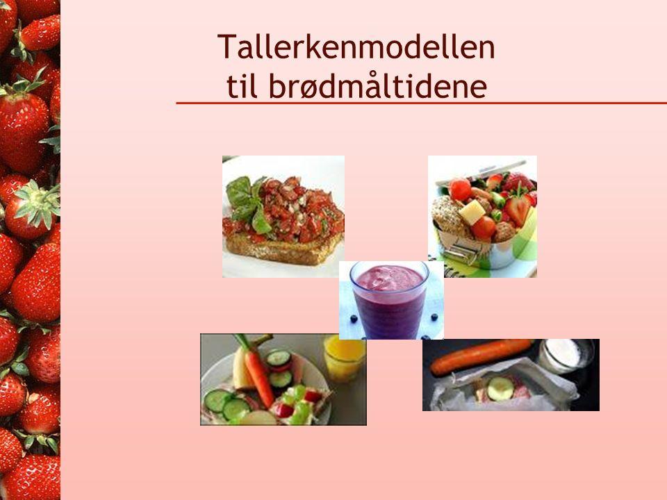 Tallerkenmodellen Brød Kornvarer Pasta, Ris Poteter Frukt Bær Grønnsaker Kjøtt Fisk Melk Egg.