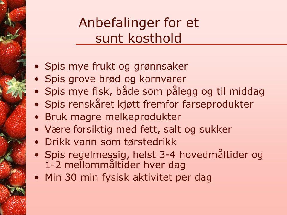 De norske næringsstoffanbefalingene Skal forebygge utvikling av mangelsykdommer Skal forebygge livsstils-sykdommer Generelle råd for befolkningen som