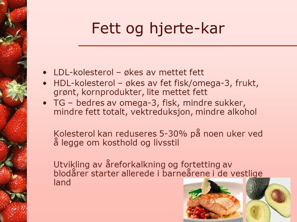 Fettrik mat Animalsk (mettet) Ost (pålegg, pizza) Oppblandet kjøttmat (pølse, leverpostei, servelat, osv.) Smør, rømme, fløte, créme fraiche Fete poteter Industrifremstilt mat (kaker, kjeks, brød, poser ) Sjokolade Vegetabilsk (umettet) Oljer, plantemargarin (på brød og i matlaging) Nøtter, mandler, frø, marsipan Avokado Fet fisk (pålegg, middag) Syke og eldre trenger kanskje ekstra fett, men også det umettede!