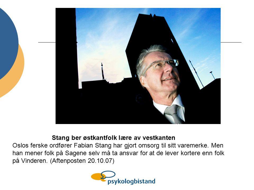 Stang ber østkantfolk lære av vestkanten Oslos ferske ordfører Fabian Stang har gjort omsorg til sitt varemerke.