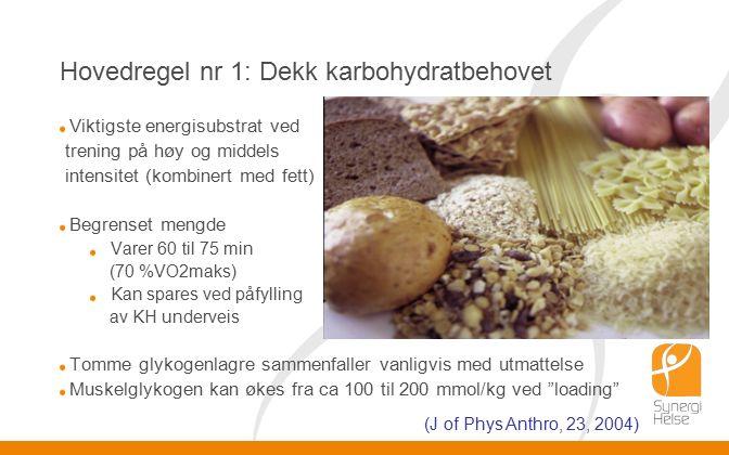 Hovedregel nr 1: Dekk karbohydratbehovet Viktigste energisubstrat ved trening på høy og middels intensitet (kombinert med fett) Begrenset mengde Varer 60 til 75 min (70 %VO2maks) Kan spares ved påfylling av KH underveis Tomme glykogenlagre sammenfaller vanligvis med utmattelse Muskelglykogen kan økes fra ca 100 til 200 mmol/kg ved loading (J of Phys Anthro, 23, 2004)