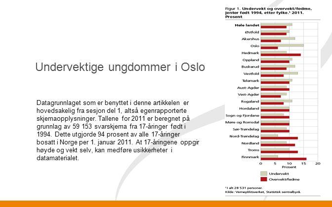 Undervektige ungdommer i Oslo Datagrunnlaget som er benyttet i denne artikkelen er hovedsakelig fra sesjon del 1, altså egenrapporterte skjemaopplysninger.