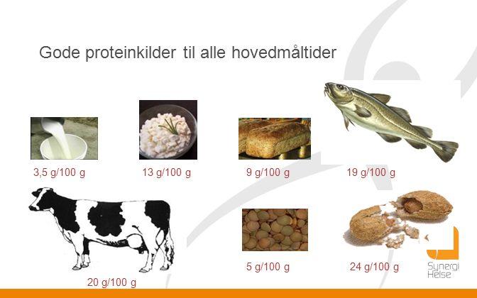 Gode proteinkilder til alle hovedmåltider 5 g/100 g 3,5 g/100 g 20 g/100 g 19 g/100 g 24 g/100 g 9 g/100 g13 g/100 g