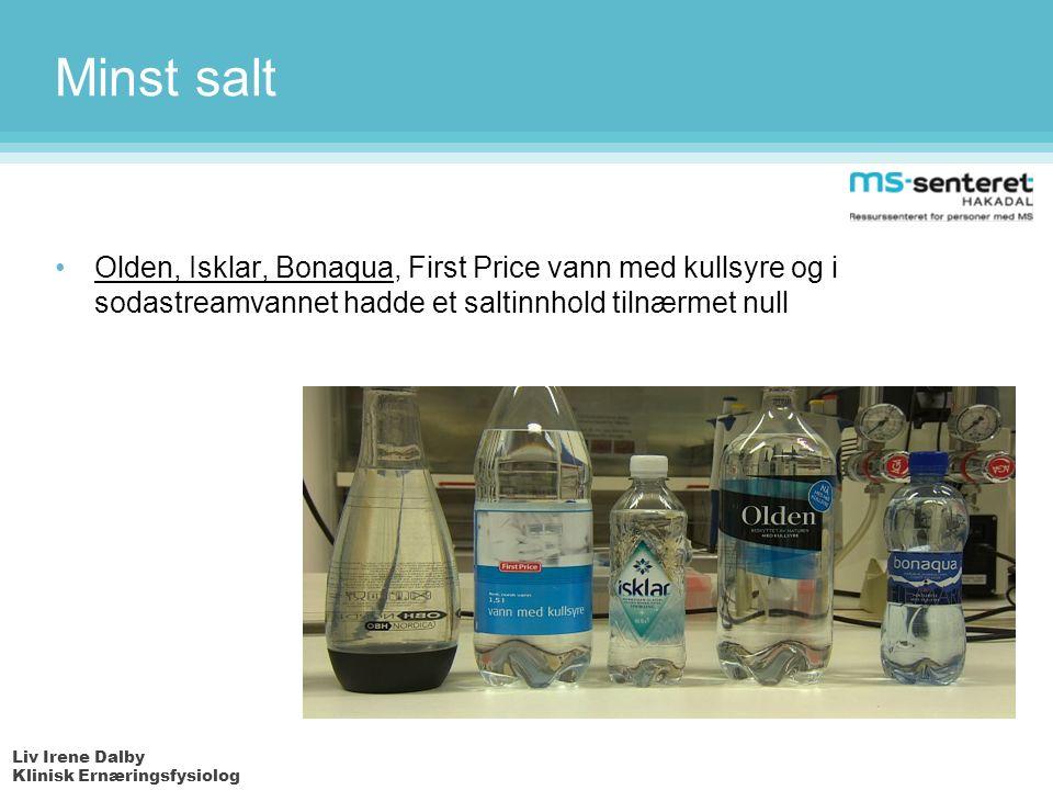 Liv Irene Dalby Klinisk Ernæringsfysiolog Minst salt Olden, Isklar, Bonaqua, First Price vann med kullsyre og i sodastreamvannet hadde et saltinnhold tilnærmet null