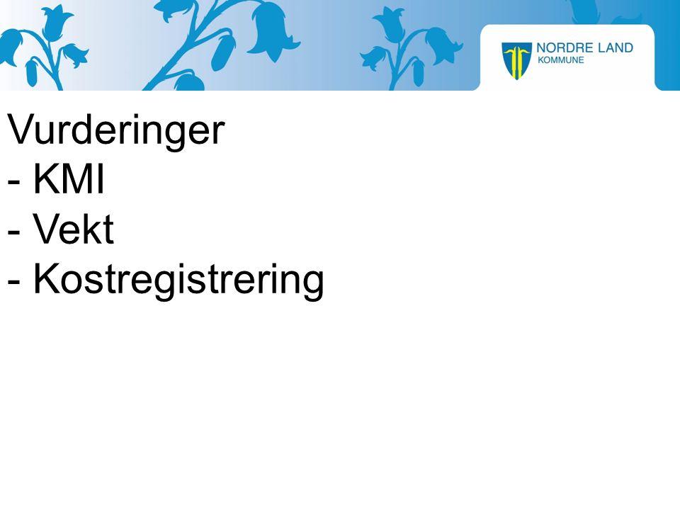 Vurderinger - KMI - Vekt - Kostregistrering