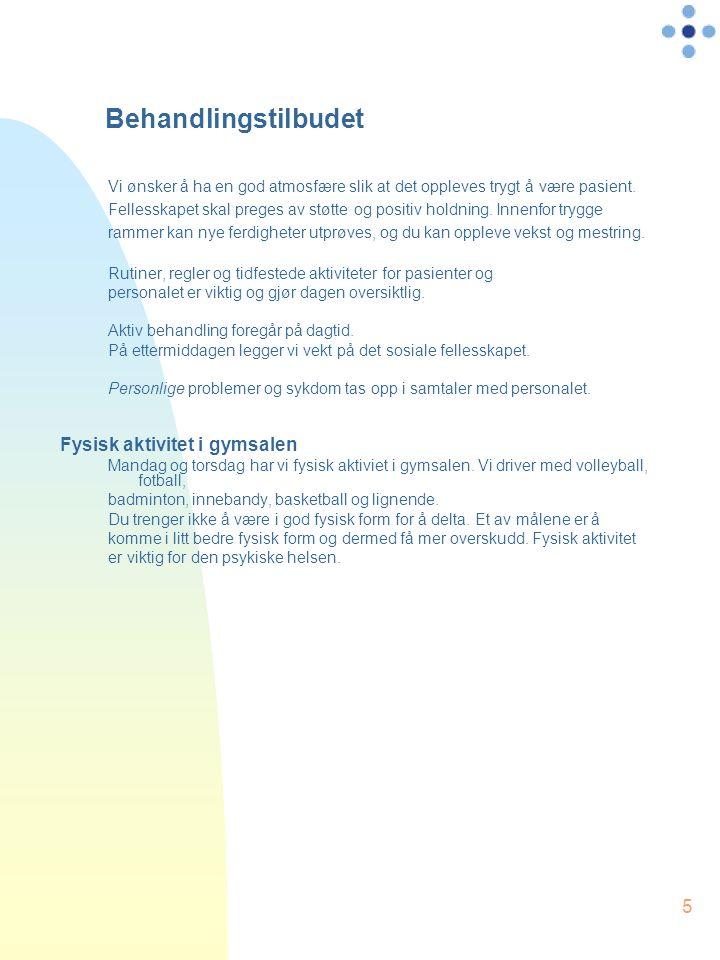 5 Behandlingstilbudet Vi ønsker å ha en god atmosfære slik at det oppleves trygt å være pasient.