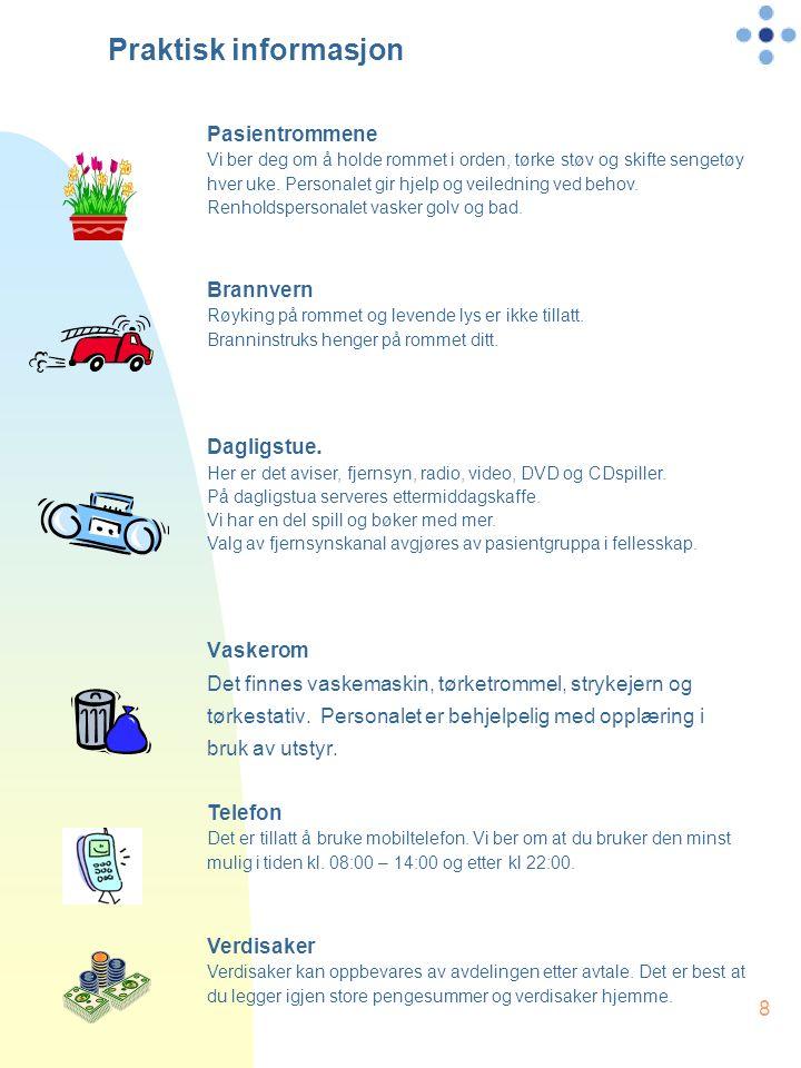 8 Praktisk informasjon Vaskerom Det finnes vaskemaskin, tørketrommel, strykejern og tørkestativ.
