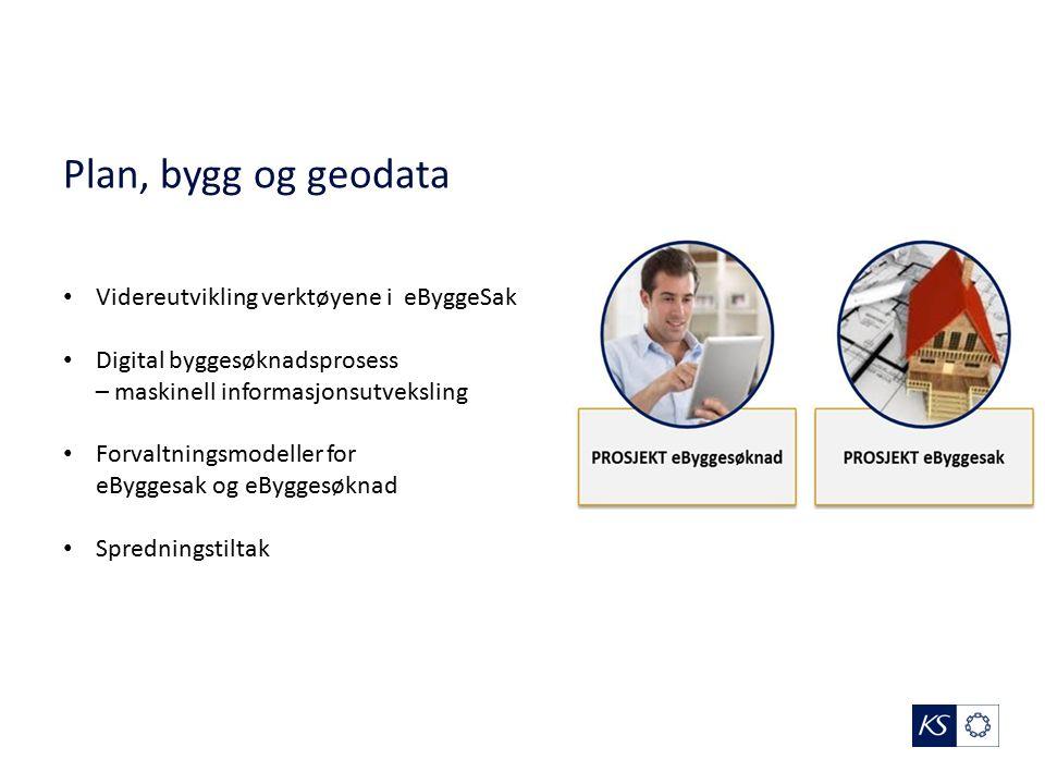 Plan, bygg og geodata Videreutvikling verktøyene i eByggeSak Digital byggesøknadsprosess – maskinell informasjonsutveksling Forvaltningsmodeller for eByggesak og eByggesøknad Spredningstiltak
