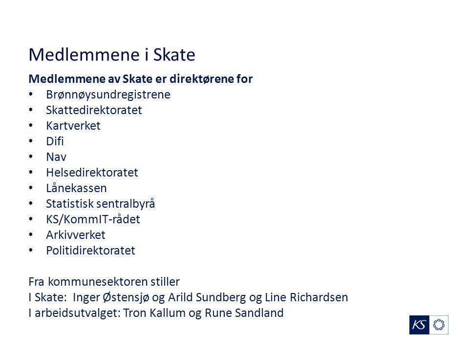 Medlemmene i Skate Medlemmene av Skate er direktørene for Brønnøysundregistrene Skattedirektoratet Kartverket Difi Nav Helsedirektoratet Lånekassen St