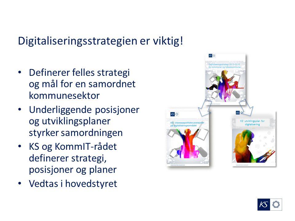 Digitaliseringsstrategien er viktig! Definerer felles strategi og mål for en samordnet kommunesektor Underliggende posisjoner og utviklingsplaner styr