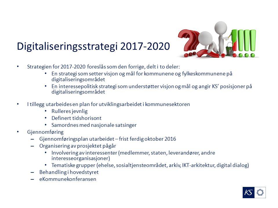 Digitaliseringsstrategi 2017-2020 Strategien for 2017-2020 foreslås som den forrige, delt i to deler: En strategi som setter visjon og mål for kommune