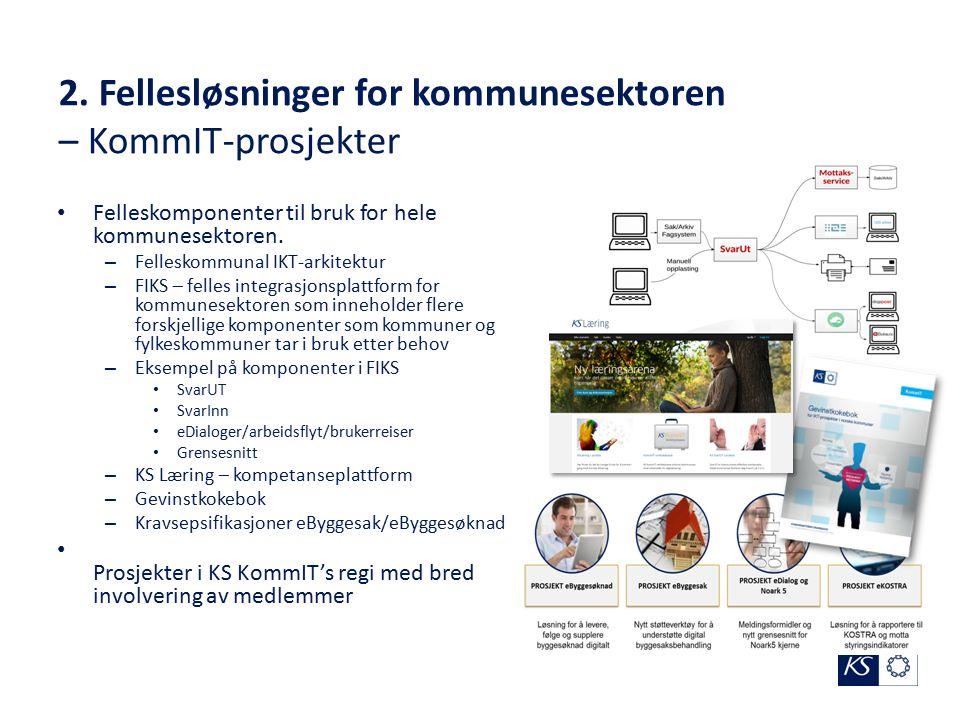 2. Fellesløsninger for kommunesektoren – KommIT-prosjekter Felleskomponenter til bruk for hele kommunesektoren. – Felleskommunal IKT-arkitektur – FIKS