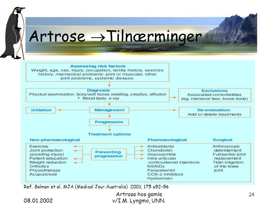 08.01.2002 Artrose hos gamle v/I.M. Lyngmo, UNN. 26 Artrose  Tilnærminger Ref.
