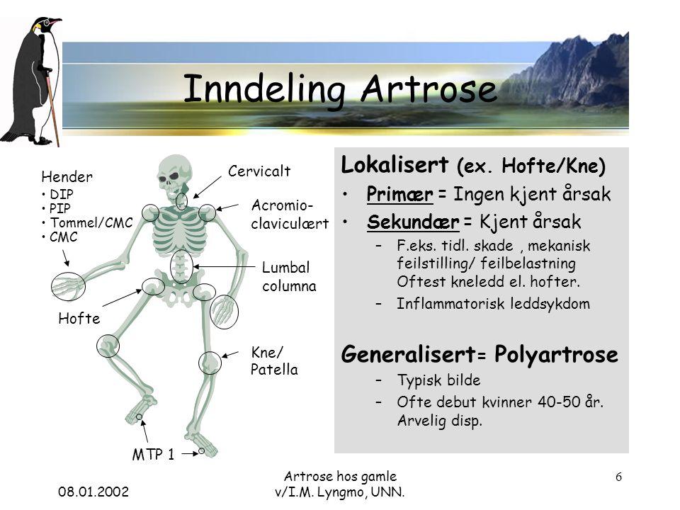 08.01.2002 Artrose hos gamle v/I.M. Lyngmo, UNN. 6 Inndeling Artrose Lokalisert (ex.