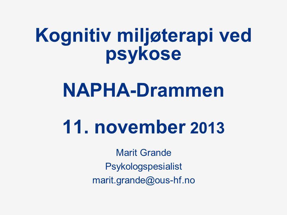 Kognitiv miljøterapi ved psykose NAPHA-Drammen 11.