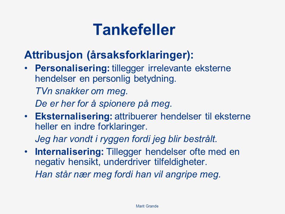 Tankefeller Attribusjon (årsaksforklaringer): Personalisering: tillegger irrelevante eksterne hendelser en personlig betydning.