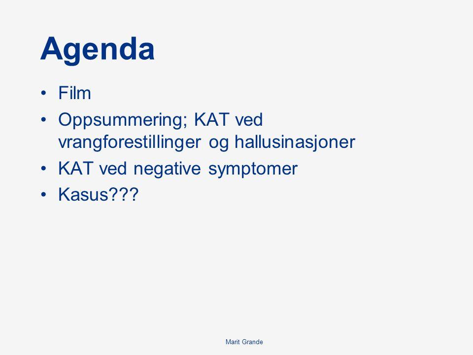 Marit Grande Agenda Film Oppsummering; KAT ved vrangforestillinger og hallusinasjoner KAT ved negative symptomer Kasus???
