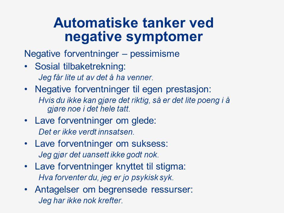 Automatiske tanker ved negative symptomer Negative forventninger – pessimisme Sosial tilbaketrekning: Jeg får lite ut av det å ha venner.