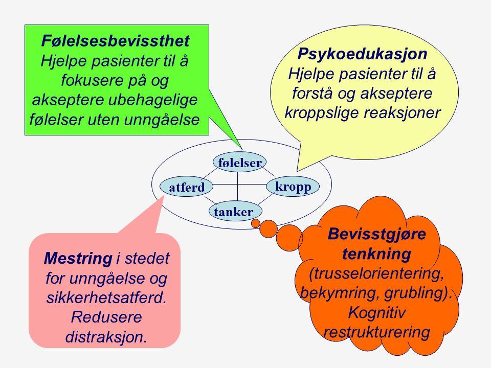 Automatiske tanker Rødtanker (negative automatiske tanker) –Medfører ubehag og som gjør det vanskeligere å handle lurt i en situasjon (katastrofetanker, devaluerende).