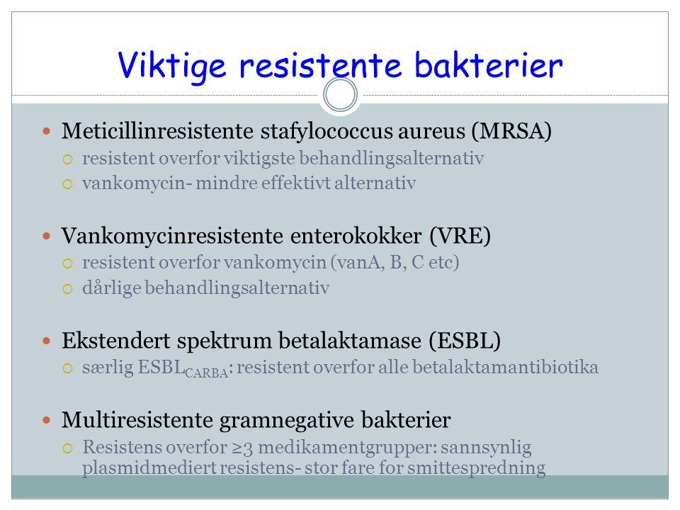 Viktige resistente bakterier Meticillinresistente stafylococcus aureus (MRSA)  resistent overfor viktigste behandlingsalternativ  vankomycin- mindre effektivt alternativ Vankomycinresistente enterokokker (VRE)  resistent overfor vankomycin (vanA, B, C etc)  dårlige behandlingsalternativ Ekstendert spektrum betalaktamase (ESBL)  særlig ESBL CARBA : resistent overfor alle betalaktamantibiotika Multiresistente gramnegative bakterier  Resistens overfor ≥3 medikamentgrupper: sannsynlig plasmidmediert resistens- stor fare for smittespredning