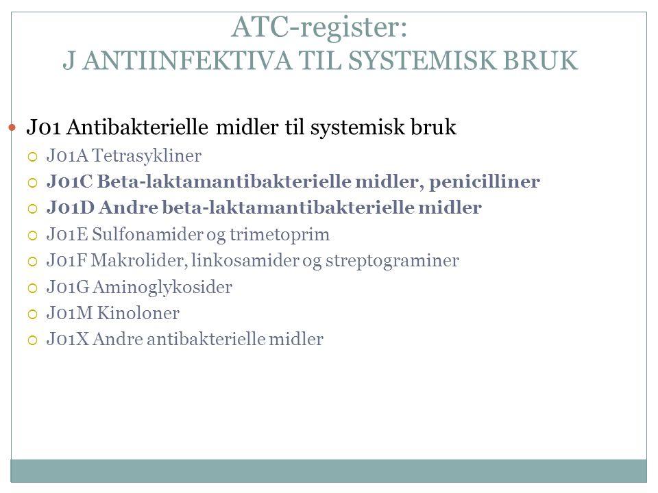 ATC-register: J ANTIINFEKTIVA TIL SYSTEMISK BRUK J01 Antibakterielle midler til systemisk bruk  J01A Tetrasykliner  J01C Beta-laktamantibakterielle midler, penicilliner  J01D Andre beta-laktamantibakterielle midler  J01E Sulfonamider og trimetoprim  J01F Makrolider, linkosamider og streptograminer  J01G Aminoglykosider  J01M Kinoloner  J01X Andre antibakterielle midler