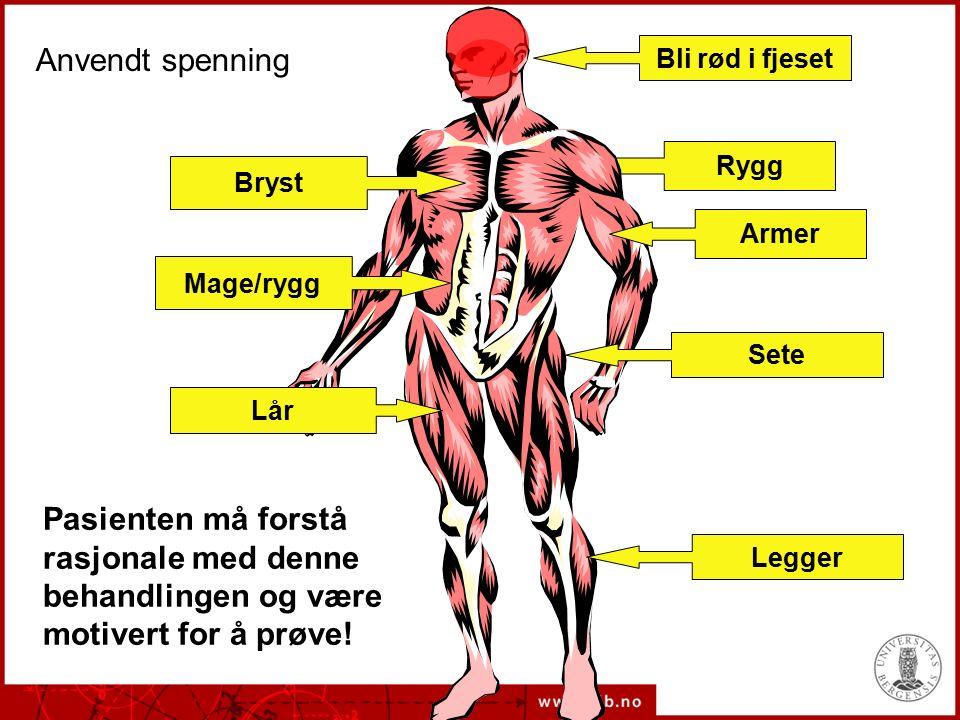 Rygg Lår Sete Bryst Armer Anvendt spenning Mage/rygg Legger Pasienten må forstå rasjonale med denne behandlingen og være motivert for å prøve.