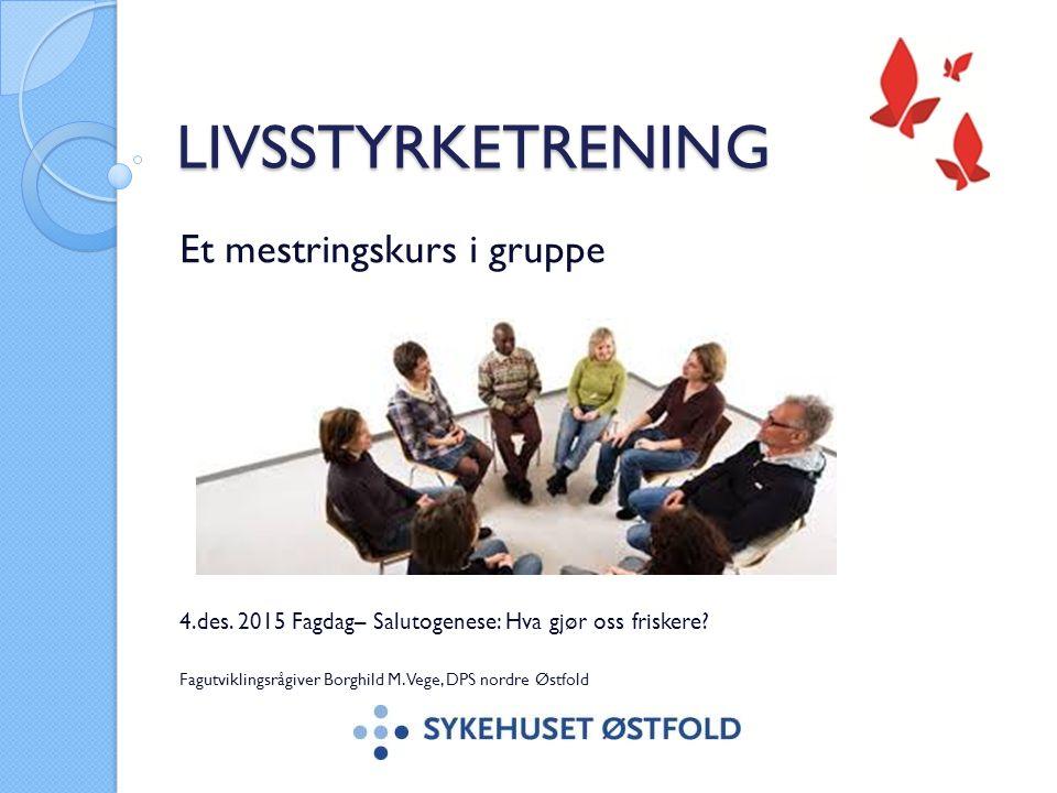 LIVSSTYRKETRENING Et mestringskurs i gruppe 4.des. 2015 Fagdag– Salutogenese: Hva gjør oss friskere? Fagutviklingsrågiver Borghild M. Vege, DPS nordre