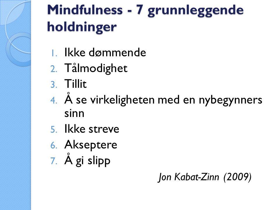 Mindfulness - 7 grunnleggende holdninger 1. Ikke dømmende 2.