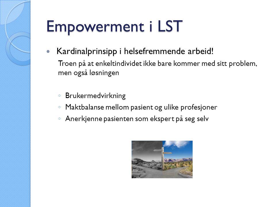 Empowerment i LST Kardinalprinsipp i helsefremmende arbeid.