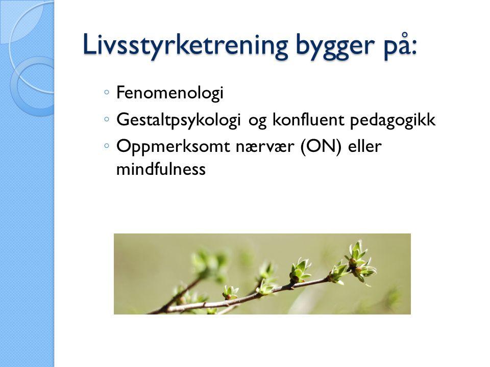 Livsstyrketrening bygger på: ◦ Fenomenologi ◦ Gestaltpsykologi og konfluent pedagogikk ◦ Oppmerksomt nærvær (ON) eller mindfulness