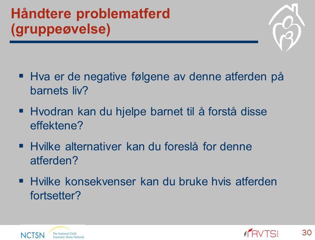 Håndtere problematferd (gruppeøvelse)  Hva er de negative følgene av denne atferden på barnets liv.