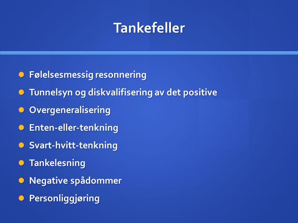 Tankefeller Følelsesmessig resonnering Følelsesmessig resonnering Tunnelsyn og diskvalifisering av det positive Tunnelsyn og diskvalifisering av det positive Overgeneralisering Overgeneralisering Enten-eller-tenkning Enten-eller-tenkning Svart-hvitt-tenkning Svart-hvitt-tenkning Tankelesning Tankelesning Negative spådommer Negative spådommer Personliggjøring Personliggjøring