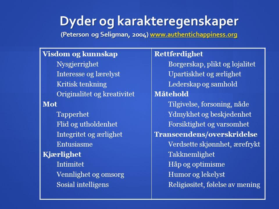 Dyder og karakteregenskaper (Peterson og Seligman, 2004) www.authentichappiness.org www.authentichappiness.org Visdom og kunnskap Nysgjerrighet Intere
