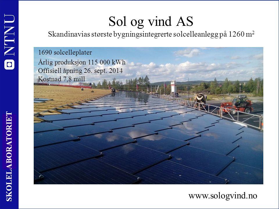 5 SKOLELABORATORIET Sol og vind AS Skandinavias største bygningsintegrerte solcelleanlegg på 1260 m 2 Årlig produksjon 115 000 kWh Offisiell åpning 26.