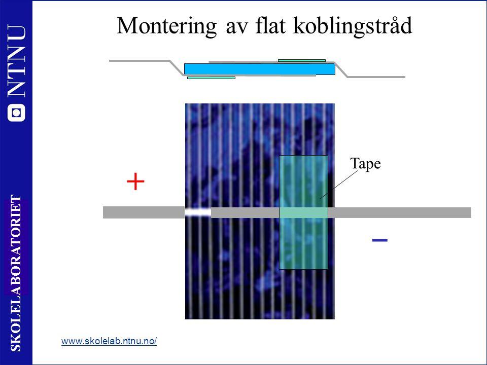51 SKOLELABORATORIET Montering av flat koblingstråd www.skolelab.ntnu.no/ + ‒ Tape