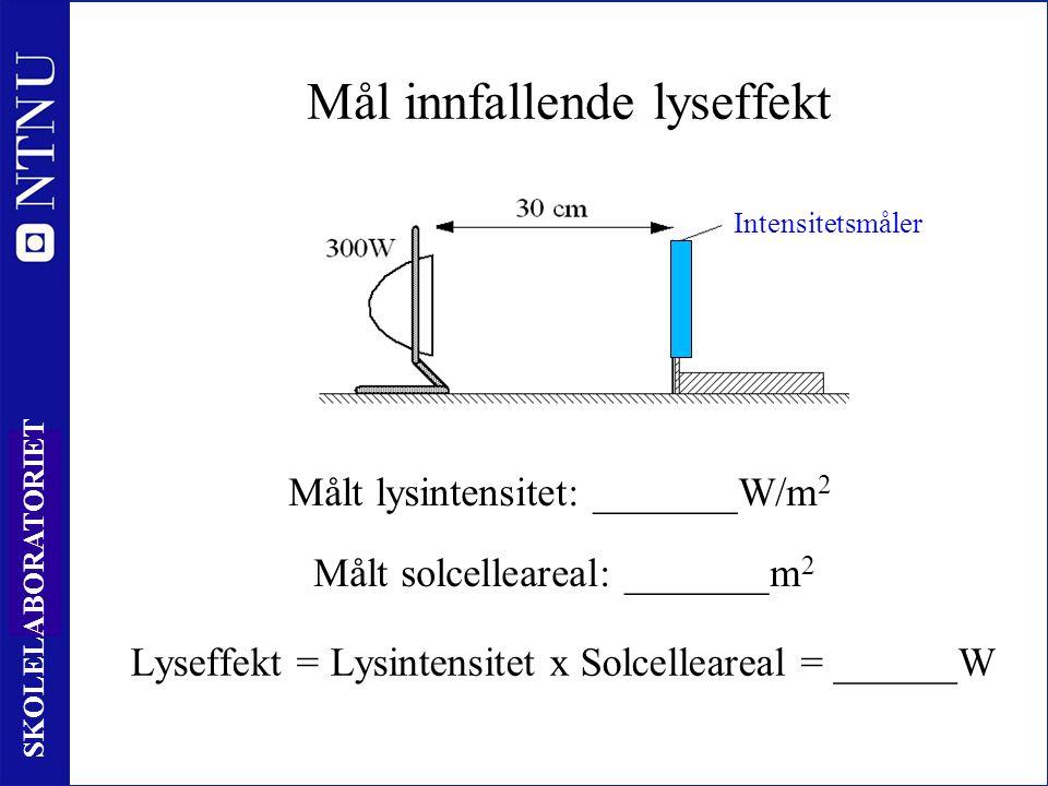 39 SKOLELABORATORIET Mål innfallende lyseffekt Målt lysintensitet: _______W/m 2 Målt solcelleareal: _______m 2 Intensitetsmåler Lyseffekt = Lysintensitet x Solcelleareal = ______W