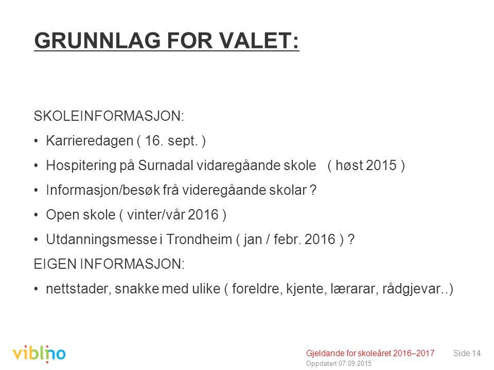Oppdatert 07.09.2015 GRUNNLAG FOR VALET: SKOLEINFORMASJON: Karrieredagen ( 16.