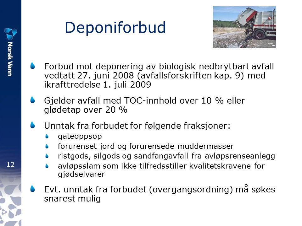 12 Deponiforbud Forbud mot deponering av biologisk nedbrytbart avfall vedtatt 27.