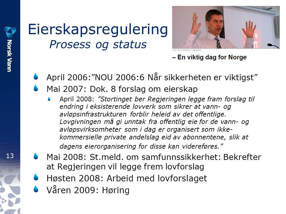 13 Eierskapsregulering Prosess og status April 2006: NOU 2006:6 Når sikkerheten er viktigst Mai 2007: Dok.