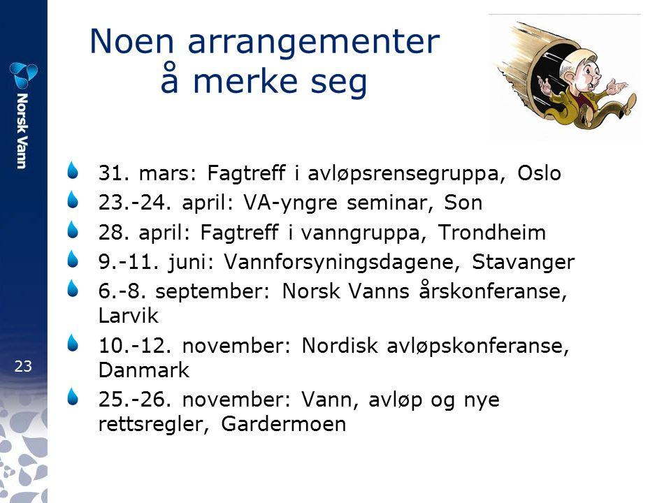 23 Noen arrangementer å merke seg 31. mars: Fagtreff i avløpsrensegruppa, Oslo 23.-24.
