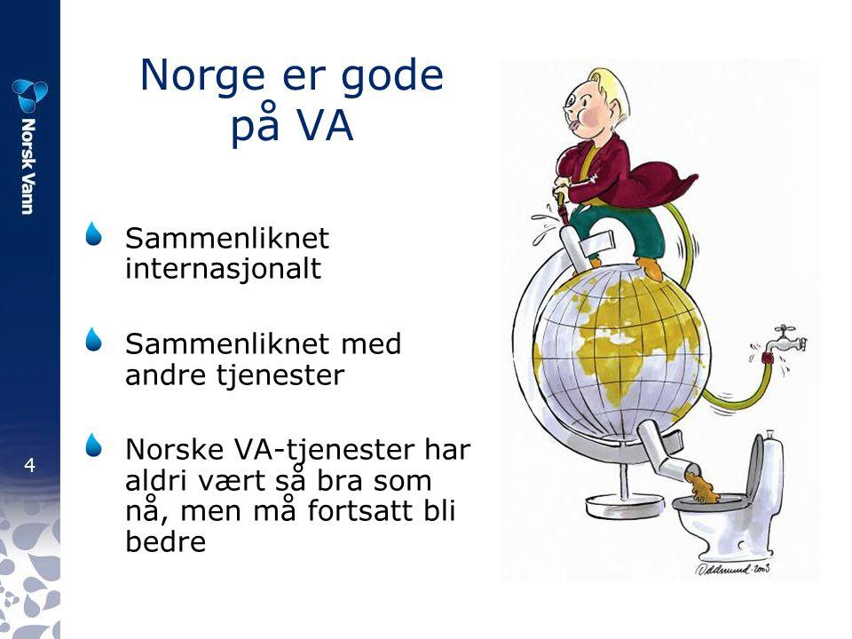 4 Norge er gode på VA Sammenliknet internasjonalt Sammenliknet med andre tjenester Norske VA-tjenester har aldri vært så bra som nå, men må fortsatt bli bedre