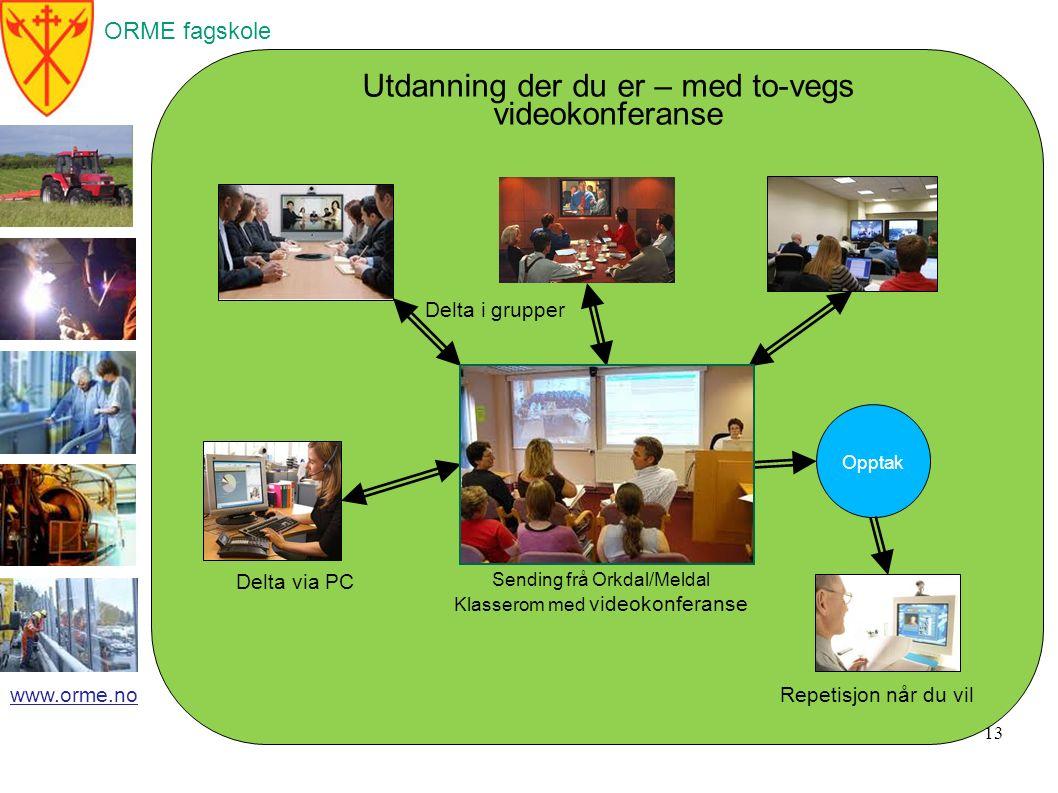 ORME fagskole www.orme.no 13 Opptak Sending frå Orkdal/Meldal Klasserom med videokonferanse Repetisjon når du vil Delta via PC Delta i grupper Utdanning der du er – med to-vegs videokonferanse