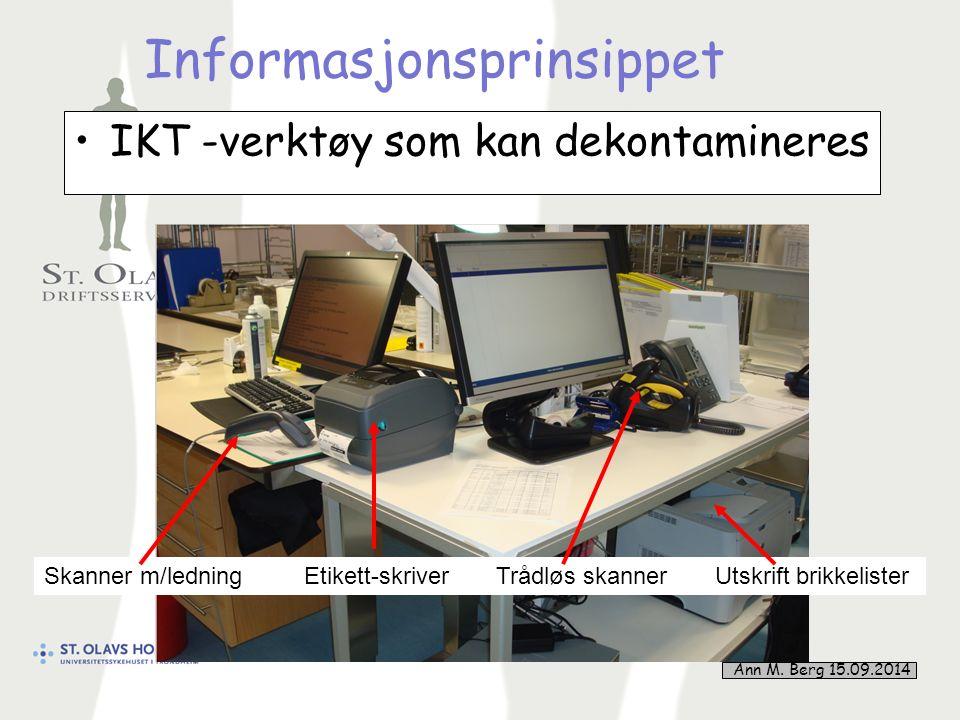 16 Informasjonsprinsippet IKT -verktøy som kan dekontamineres Skanner m/ledning Etikett-skriver Trådløs skanner Utskrift brikkelister Ann M.