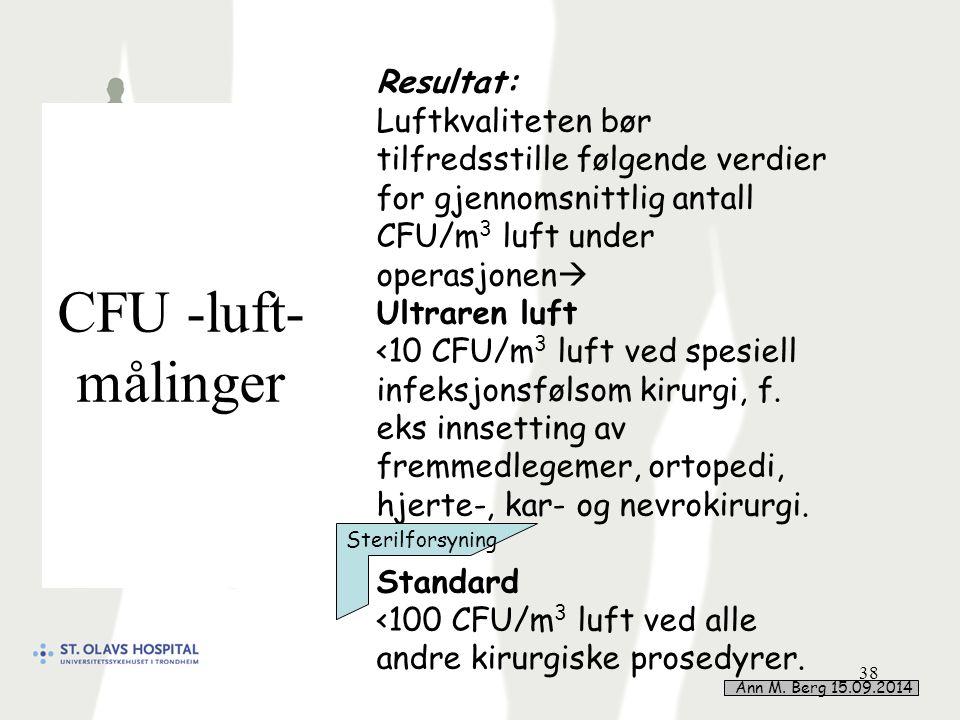 CFU -luft- målinger 38 Resultat: Luftkvaliteten bør tilfredsstille følgende verdier for gjennomsnittlig antall CFU/m 3 luft under operasjonen  Ultraren luft <10 CFU/m 3 luft ved spesiell infeksjonsfølsom kirurgi, f.