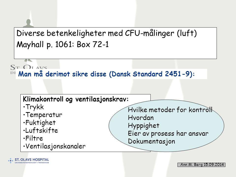 41 Diverse betenkeligheter med CFU-målinger (luft) Mayhall p.