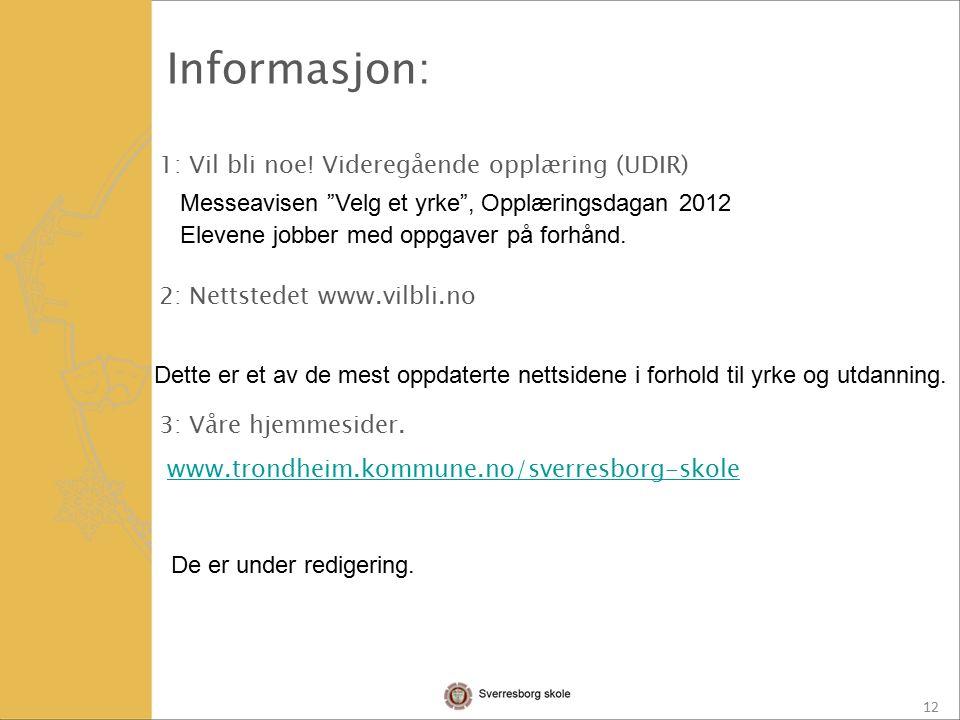 12 1: Vil bli noe. Videregående opplæring (UDIR) 2: Nettstedet www.vilbli.no 3: Våre hjemmesider.