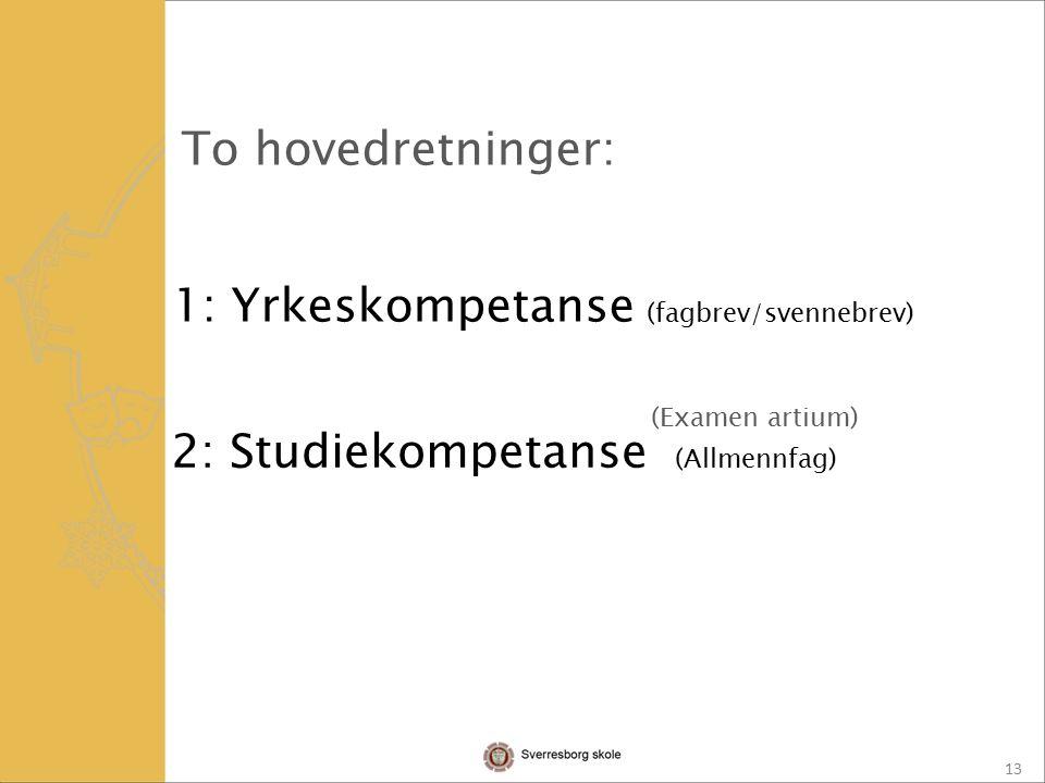13 To hovedretninger: 1: Yrkeskompetanse (fagbrev/svennebrev) 2: Studiekompetanse (Allmennfag) (Examen artium)
