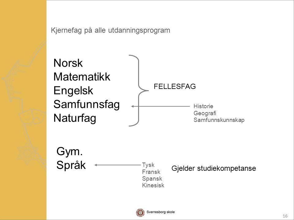 16 Kjernefag på alle utdanningsprogram Norsk Matematikk Engelsk Samfunnsfag Naturfag FELLESFAG Historie Geografi Samfunnskunnskap Gym.